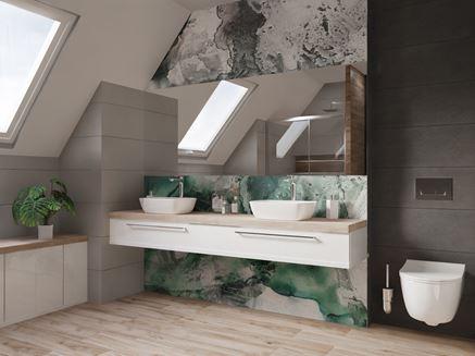 Nowoczesna strefa umywalkowa na poddaszu