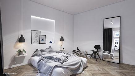 Skandynawska sypialnia w kamienicy