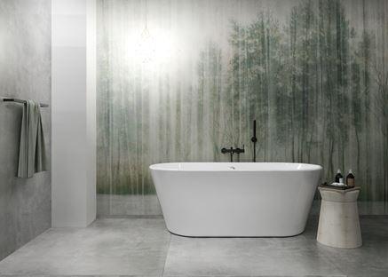 Szary beton Azario Luna w łazience z wanną wolnostojącą