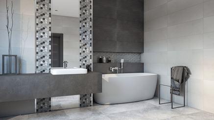 Przestronna łazienka w gamie szarości