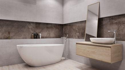 Nowoczesna łazienka w szarościach z wanną wolnostojącą