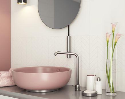 Różowa, designerska umywalka nablatowa