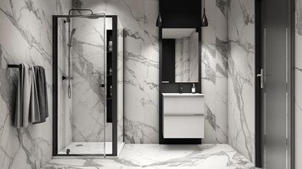 Łazienka z płytkami wielkoformatowymi z wzorem marmuru