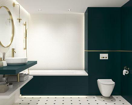 Biało-zielona łazienka w kolekcji Paradyż Porcelano
