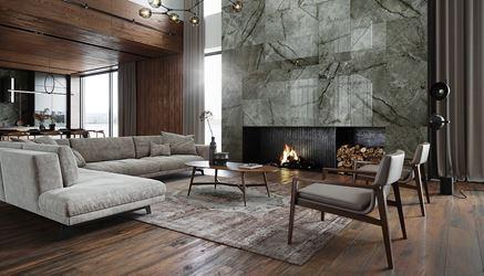 Salon glamour w drewnie i kamieniu