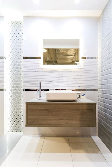 Aranżacja łazienki w płytkach Tubądzin kolekcja Abisso