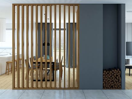 Ażurowa ścianka z drewnianych lameli - pomysł na przedpokój