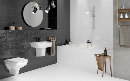 Nowoczesna łazienka w czerni i bieli