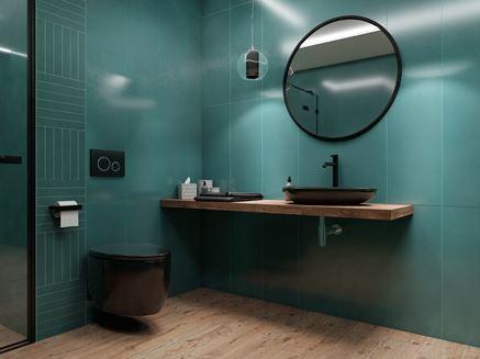 Zielona łazienka w kaflach Tubądzin My Tones i z czarną ceramiką
