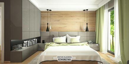 Sypialnia na poddaszu z dodatkiem drewna