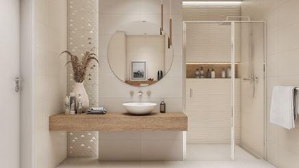 Jasna łazienka z ozdobną mozaiką
