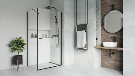 Nowoczesna jasnoszara łazienka z drewnem