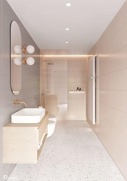 Wąska, kremowa łazienka