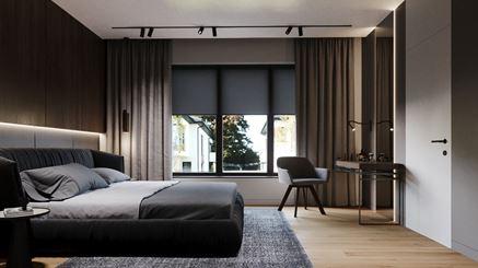 Szaro-brązowa sypialnia z biurkiem do pracy