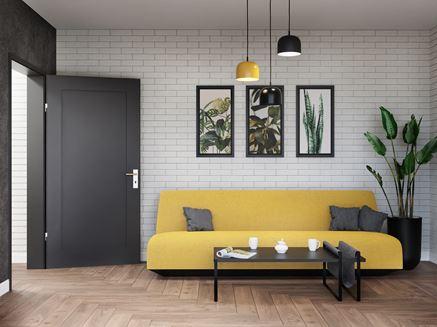Cegiełka i drewno w nowoczesnym salonie
