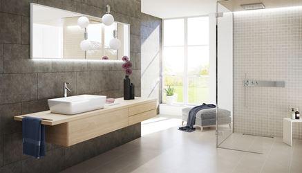 Szara łazienka wykończona betonowymi płytkami i mozaika Opoczno Ares