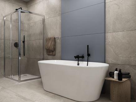 Nowoczesna łazienka w szarym kamieniu z wanną wolnostojącą