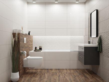 Biel i drewno w łazience Vijo Materika