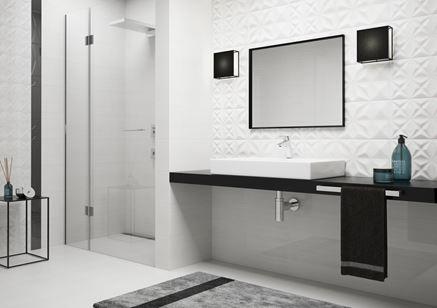 Biało czarna łazienka w koncepcie kolekcji Opoczno Delicate Lines