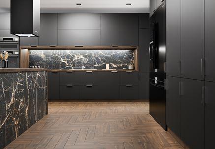 Stylowa kuchnia z marmurem  i drewnem