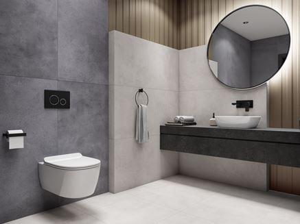 Szaro-biała łazienka z płytami o wyglądzie betonu