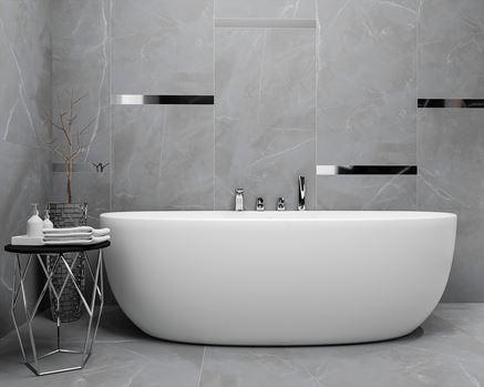 Strefa kąpielowa z szarą ścianą