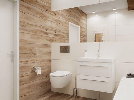 Biała łazienka w duecie z płytką drewnopodobną