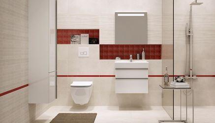 Kremowa łazienka z czerwonym akcentem