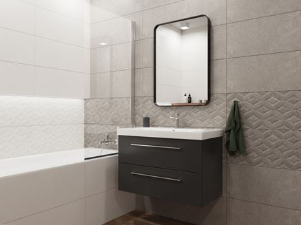 Biel i szarość ze strukturą w nowoczesnej łazience