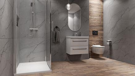 Łazienka w szarych marmurach z dodatkiem drewna