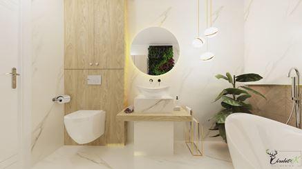 Elegancki salon kąpielowy - widok na umywalkę i strefę toalety