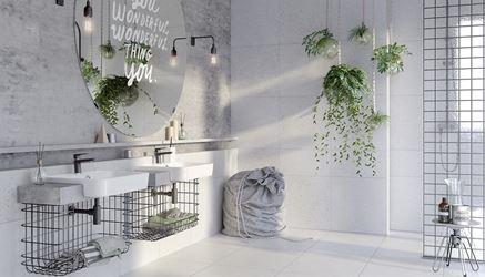 Szara łazienka z betonowymi płytami Opoczno Magic Stone