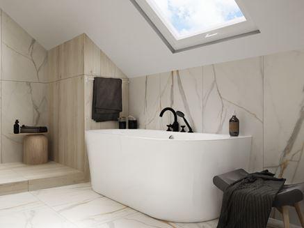 Łazienka na poddaszu z wanną przyścienną