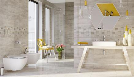 Beżowa łazienka w nowoczesnym wydaniu Opoczno Floorwood