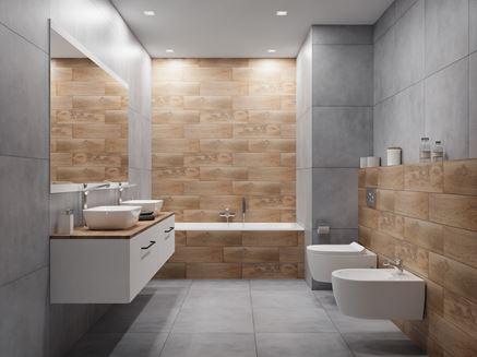 Minimalistyczna łazienka w drewnie i betonie