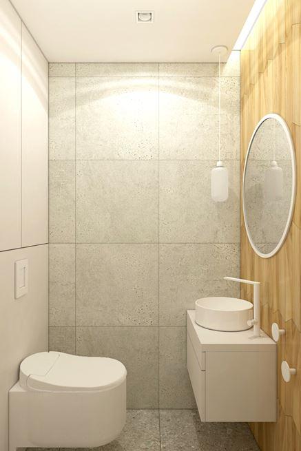 Beton i drewno w małej toalecie