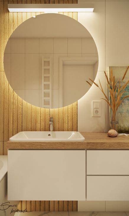 Strefa umywalkowa w jasnej łazience