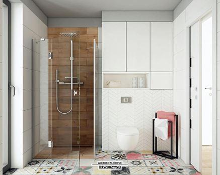 Nowoczesna łazienka - patchwork i drewno