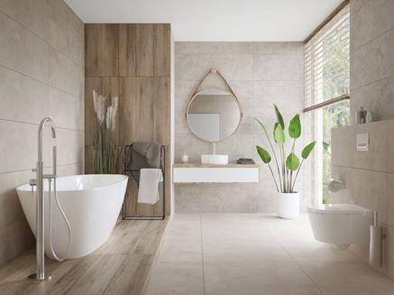 Aranżacja jasnej, dużej łazienki z drewnianymi wykończeniami