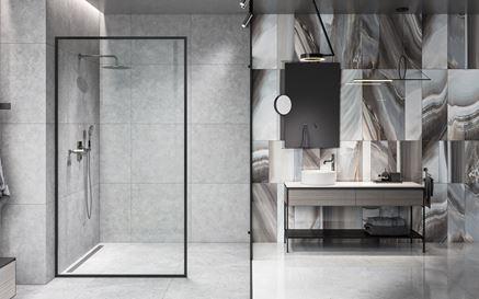 Nowoczesna łazienka w betonie i kamieniu