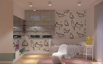 Sypialnia dziecięca z tapetą w kotki