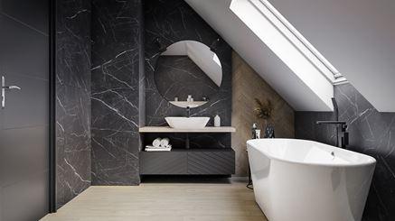 Czarny kamień i jasne drewno w aranżacji nowoczesnej łazienki