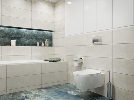 Nowoczesna łazienka w jasnych odcieniach szarości
