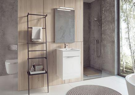 Biała szafka umywalkowa Elita Set Qubo Plus