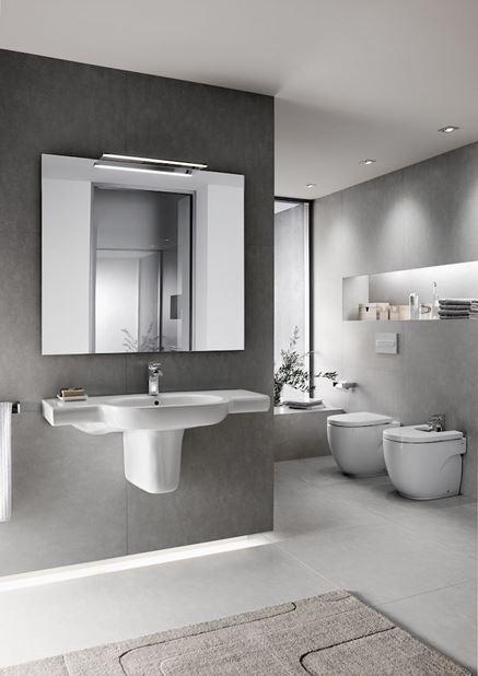 Szara łazienka w nowoczesnym stylu Roca Meridian