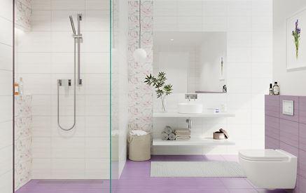 Kremowa łazienka z fioletowymi akcentami Cersanit Artiga