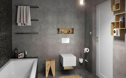 Szara łazienka z brązowymi, drewnianymi akcentami