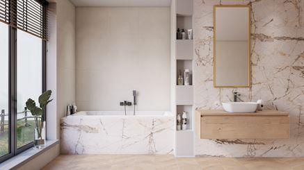 Jasna łazienka z kamieniem Azario Gristone