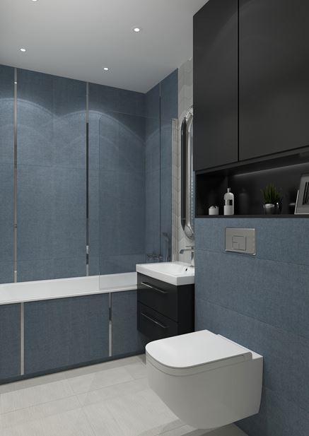 Niebiesko-szara łazienka w kolekcji House of Tones marki Tubądzin