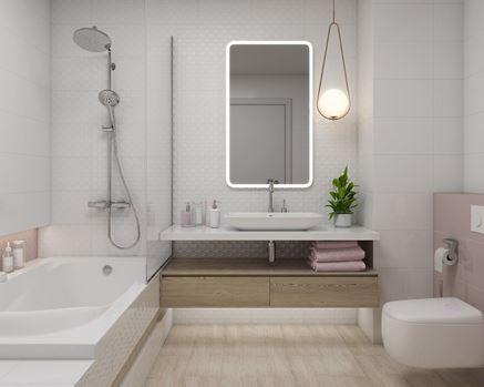 Ciepła łazienka z różowym akcentem Paradyż Martynika